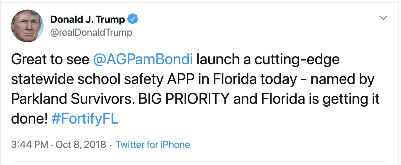 President Donald Trump tweet on Fortify FL app