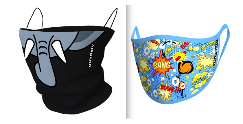 Airband masks with elephant figure and comic graphics