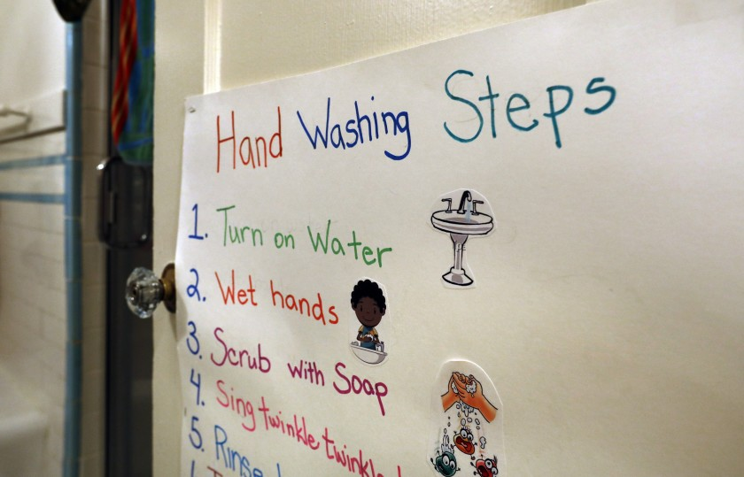 Hand-washing instructions at Ladybug Childcare & Preschool in San Francisco.