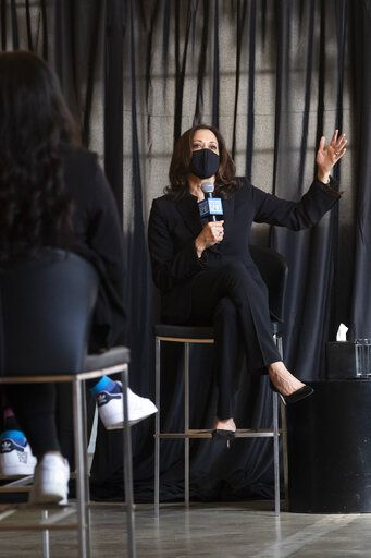 Democratic vice presidential candidate Sen. Kamala Harris, D-Calif., speaks to HBCU students during a campaign event, Friday, Oct. 23, 2020, in Atlanta.