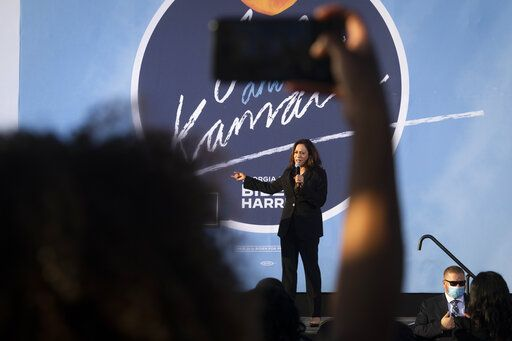 Democratic vice presidential candidate Sen. Kamala Harris, D-Calif., speaks during a campaign event at Morehouse College, Friday, Oct. 23, 2020, in Atlanta.